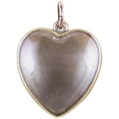 Antique Victorian Boxed Heart Locket Rock Crystal 15 Carat Gold
