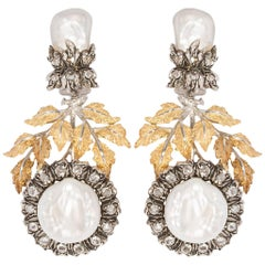 Buccellati Gianmaria 18 Carat Gold, Baroque Pearls and Mother-of-Pearl Earrings