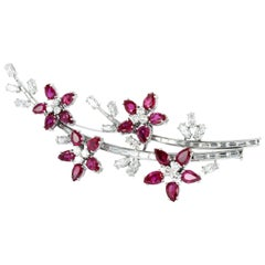 Very Fine Ruby and Diamond Platinum Flower Brooch