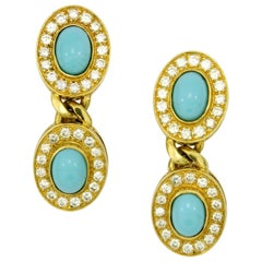 Hanging Gold Earrings with Diamonds