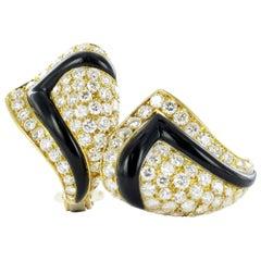 Pair of 18 Karat Gold, Black Chalcedony Diamond Earclips