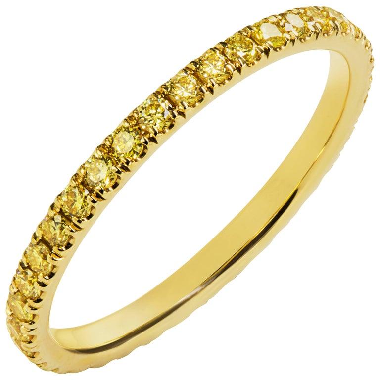 Fancy Yellow Diamond Eternity Wedding Band For