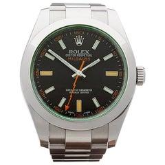 Rolex Stainless Steel Milgauss Green Glass Automatic Wristwatch, 2014