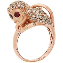 Emilio Jewelry Unique Ruby Eyed Diamond Monkey Ring