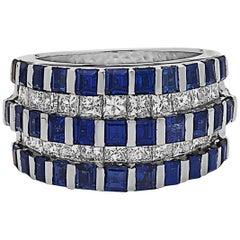 Rich Blue Princess Cut Sapphire Diamond Band