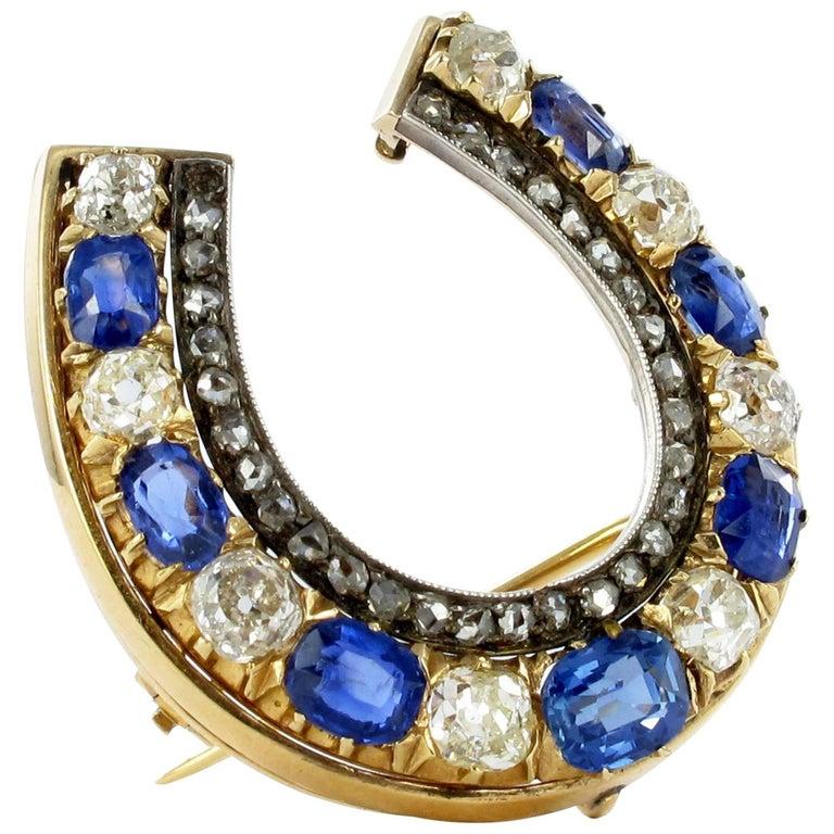 Charming Antique Sapphire and Diamond Pendant Brooch
