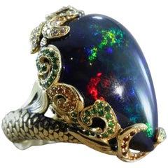 Black Opal Diamond Tsavorite Garnet Gold Mermaid Ring