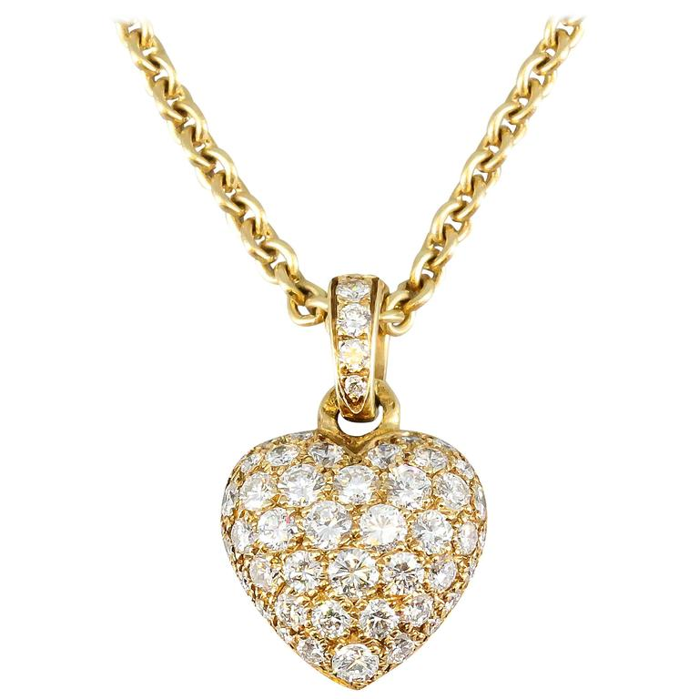 Cartier diamond gold heart shaped pendant necklace at 1stdibs cartier diamond gold heart shaped pendant necklace for sale aloadofball Image collections