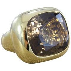 Smoky Quartz Gold Cocktail Ring