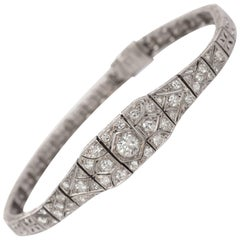 1.00 Carat, Total Weight Diamond Platinum Bracelet
