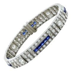 Art Deco Diamond Blue Sapphire Platinum Bracelet