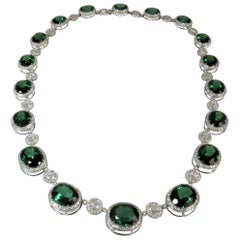 18 Karat White Gold Necklace with Green Tourmalines and Rosecut Diamonds