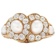 19th Century Pearl and Diamond Twin Hearts Ring