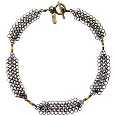 Allison Stern Sterling Silver Chain Maille with Gold Accent Bracelet