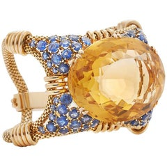 Retro French Citrine and Sapphire Gold Cuff  Bracelet