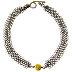 Allison Stern Sterling Silver with Gold Bead Bracelet