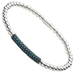 Carlos Udozzo 18 Karat White Gold, Rhodium Plated, 68 Blue Diamonds Bracelet