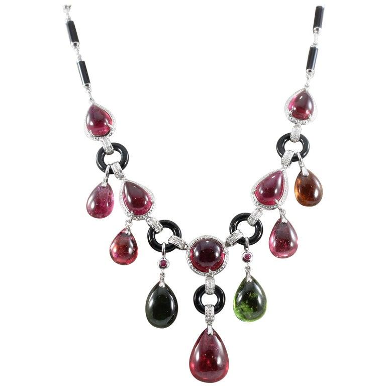 Multi-Color Cabochon Tourmaline Onyx Diamond Gold Drop Necklace