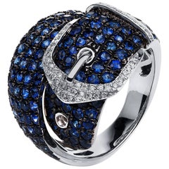 Carlos Udozzo 18 Karat White Gold with 49 Diamonds, Blue Sapphires Cocktail Ring