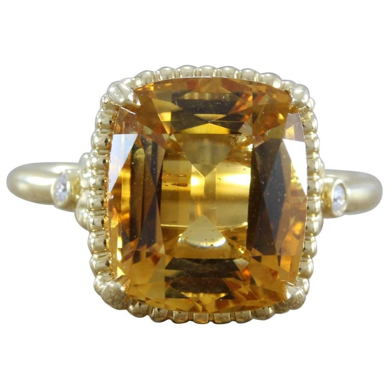 Tiffany & Co. Citrine Diamond Gold Cocktail Ring