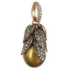 Carlos Udozzo, Brown 18 Karat Rose Gold Diamonds and Tahitian Pearl Pendant