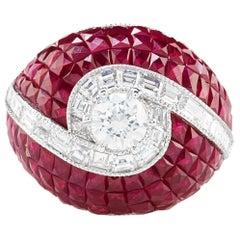 Vivid Red Ruby Diamond Swirl Dome Ring