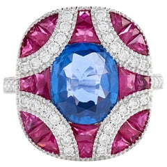 Blue Sapphire Red  Ruby Diamond Pillow Ring