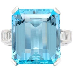 Extraordinary 16 Carat Aquamarine and Diamond Platinum Ring