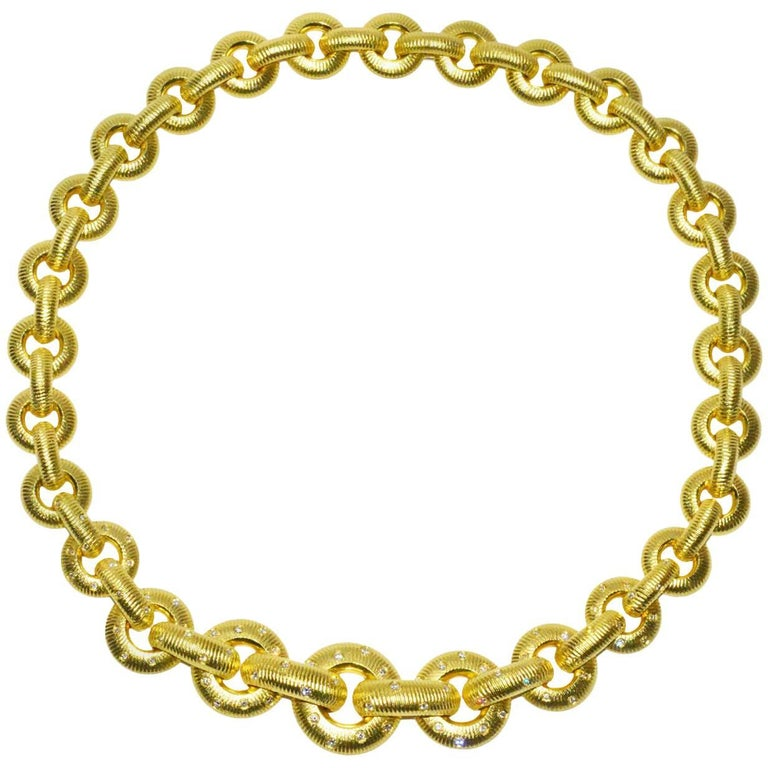 Chic Paul Morelli Gold and Diamond Necklace For Sale