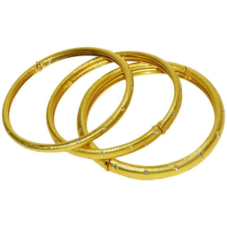 Set of Three Paul Morelli Gold and Diamond Bangle Bracelets