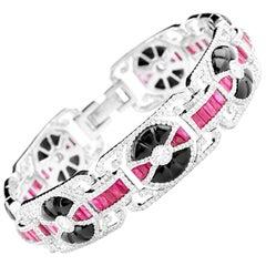 Burmese Ruby Onyx Diamond Geometric Bracelet