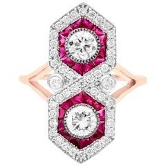 Geometric Double Ruby and Diamond Ring