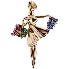 Lacloche 1940s Iconic Flower Seller Brooch