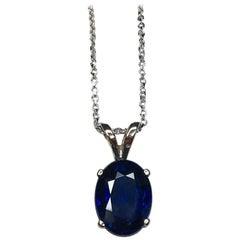 IGI Certified 2.45 Carat Blue Sapphire Oval Cut White Gold Solitaire Pendant