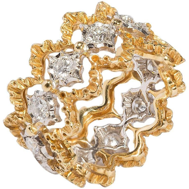 buccellati diamonds 18 carat white and yellow gold ring