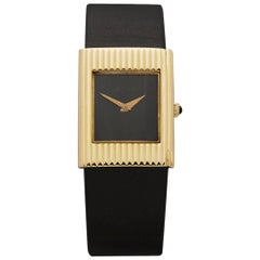 Delaneau Ladies Yellow Gold Onyx Vintage Manual Wristwatch, 1960s