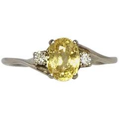 IGI Certified 1.20 Carat Untreated Ceylon Yellow Sapphire and Diamond Gold Ring