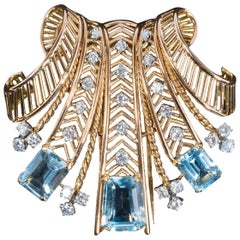 Boucheron 1940s Topaz, Diamond, Platinum and 18 Carat Gold Pendant-Brooch