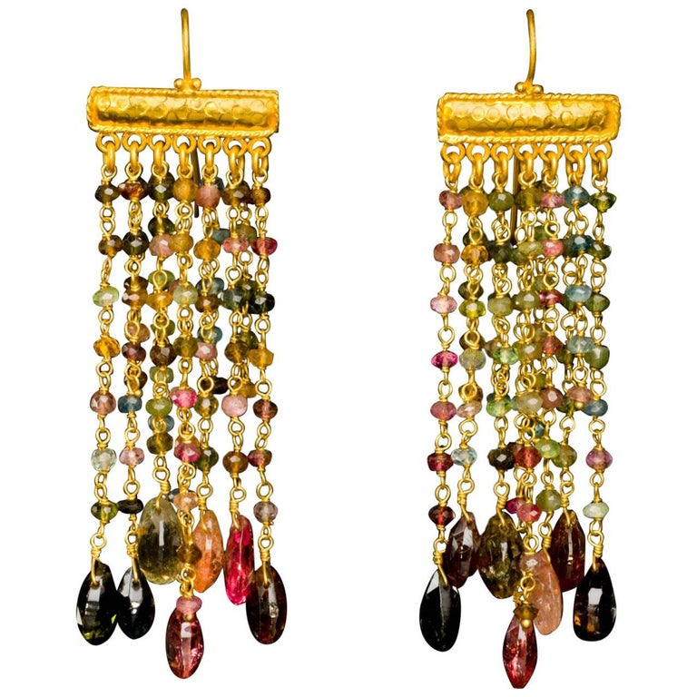 Dancing Apsara Tourmaline and Gold Chandelier Bead Earrings For Sale