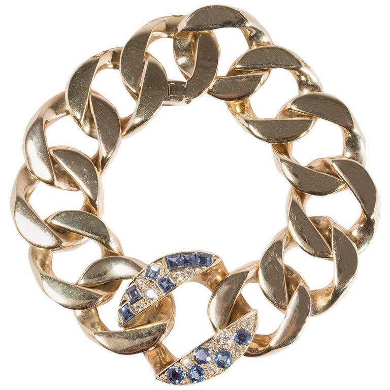 Seaman Schepps 1940s Bracelet in Diamonds, Sapphires and 18 Carat Gold