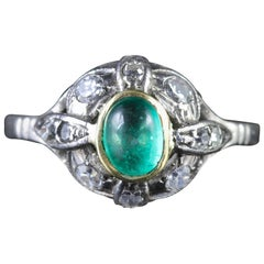 Antique Art Deco Emerald Diamond Platinum Ring, circa 1920