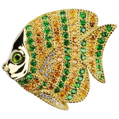 Yellow Gold Tropical Fish Brooch with Tsavorite, Mandarin Garnets and Diamonds