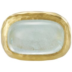 20.18 Carat Aquamarine Blue Sugarloaf Cabochon Gold Ring