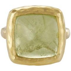 10.58 Carat Aquamarine Sugarloaf Cabochon Aqua Ocean Green Ring