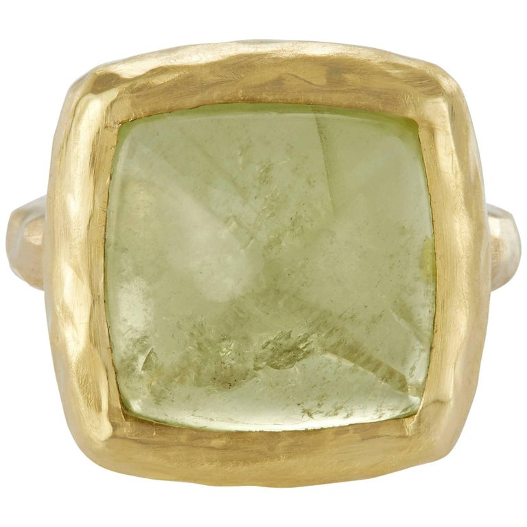 10.58 Carat Aquamarine Sugarloaf Cabochon Aqua Ocean Green Ring For Sale