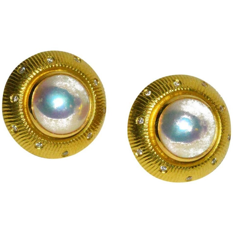 Chic Paul Morelli Gold, Pearl and Diamond Ear Clips