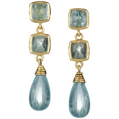 Aquamarine Blue Sugarloaf Cabochon Drop Gold Earrings