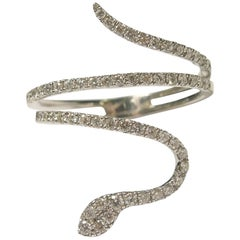 Snake Ring with Diamonds and Gold
