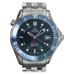 Omega Stainless Steel Seamaster Diver GMT Blue Dial Automatic Wristwatch