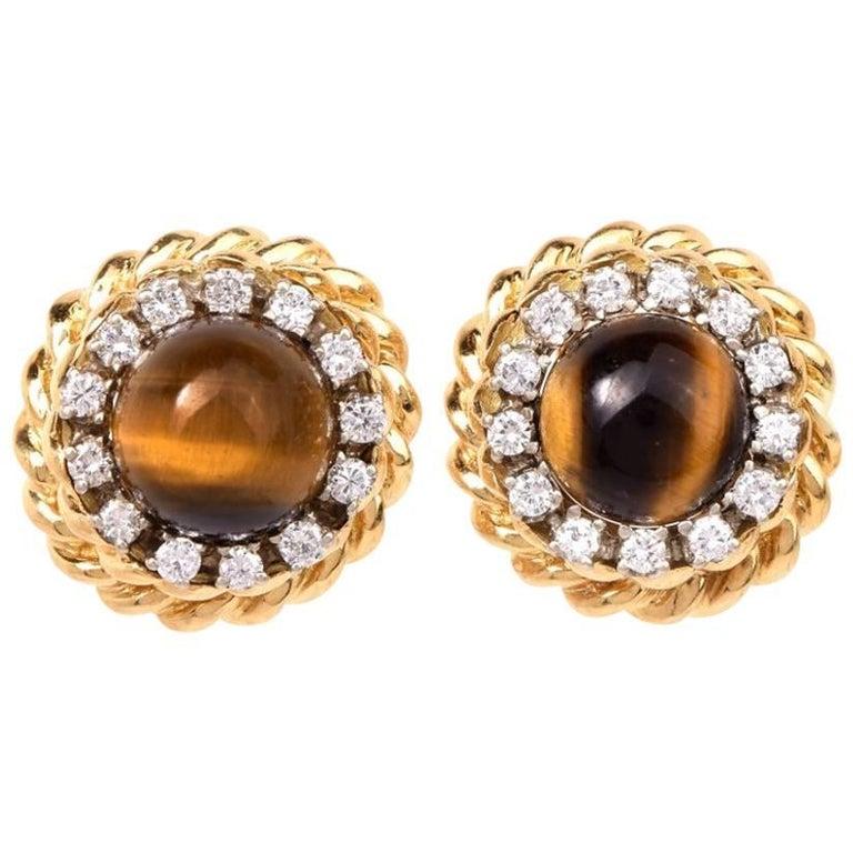 Vintage 1970s Tiger Eye Diamond Stud Gold Earrings At 1stdibs